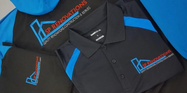 Embroidery logos on polo shirts and hoodies