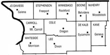 Map Jo Daviess, Stephenson ,Winnebago, Boone, McHenry Carroll, Ogle, Dekalb, Kane, Whiteside, Lee