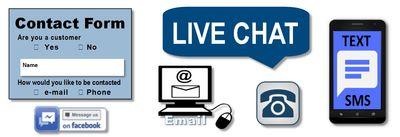Contact us by: Web Contact Form | email | Live Chat | Facebook | Phone | Fax | text | SMS