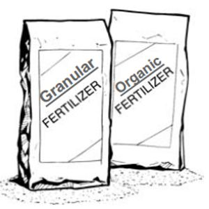 Bags of Granular Slow Release Fertilizer. Professional Lawn Fertilization products