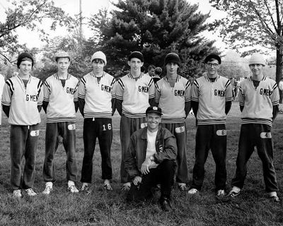 Coach Vern Hawkins and the 1969 cross country state championship team