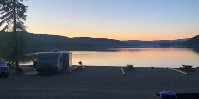 Lakeside camping at South Point Resort on Canim Lake. RV sites on the water.