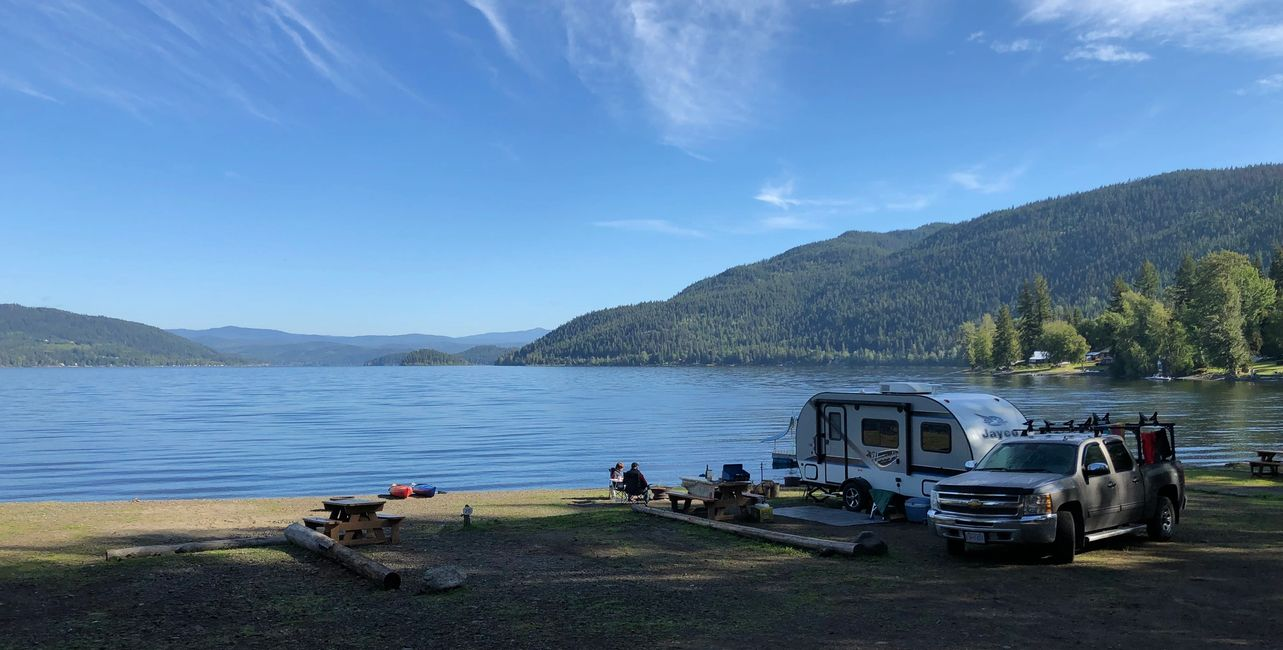 RV and camping sites at South Point Resort on Canim Lake, BC.
