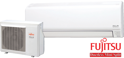 What a Fujitsu ductless mini split indoor head and outdoor unit look like