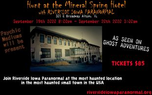 September 19th 2020  Get Tickets Here! https://www.thriller.events/tickets/hunt-at-the-mineral-sprin