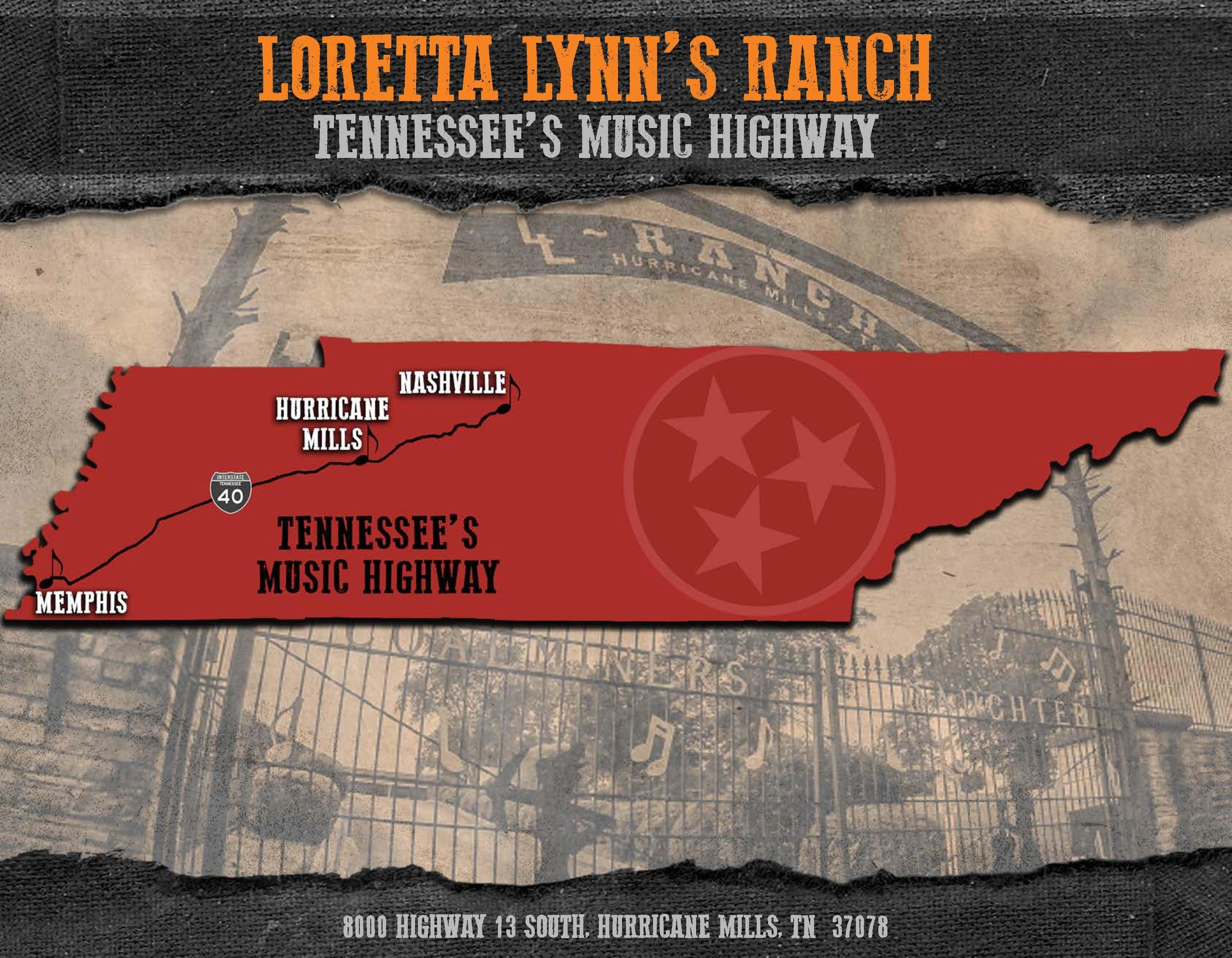 Tennessee's Music Highway, Loretta Lynn's Ranch is located between Memphis and Nashville