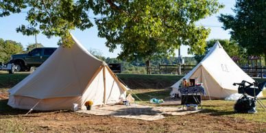 Campground, glamping, revival tents