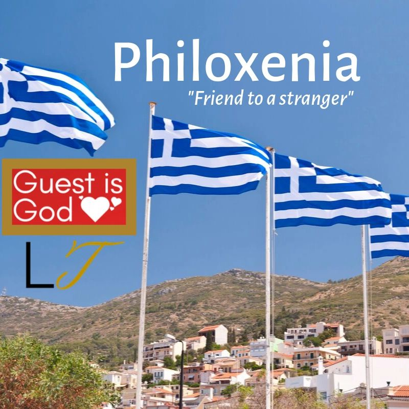 Philoxenia, Friend to a stranger. Customer Service Guest is God cultures, Greece.