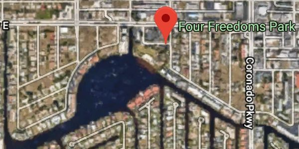 Map and kayak trails of Four Freedoms Park in Cape Coral Florida