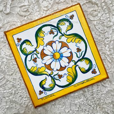 "16th century Italian floral design hand painted on a 6"" stretched canvas."