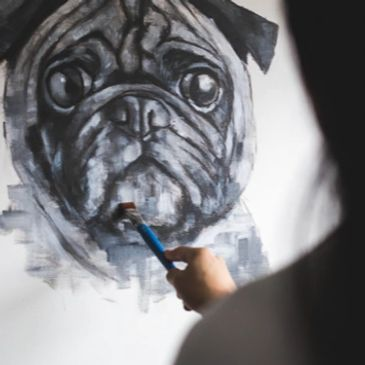 Pug Painting Custom Pet Portrait Pet Portrait Pug Art  Wall Art  Vancouver