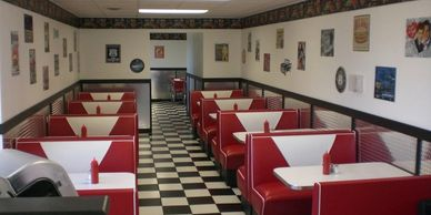 Ice cream, homemade ice cream cakes, handmade, retro diner, 50s, river view, small town ice cream