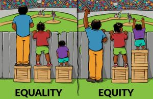 image of equality and equity fence