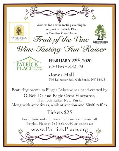 Come join us for a wine tasting evening in support of Patrick Place a Comfort Care Home.