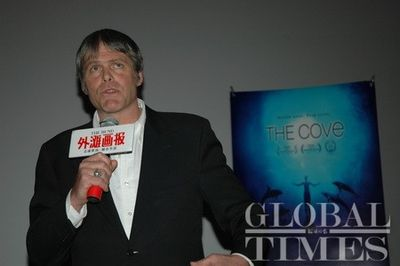 "Speaking after ""The Cove"" China premier screening in Shanghai 2010."
