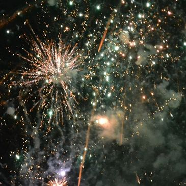 Firework party after Renewal of Wedding Vows with Humanist Celebrant Susan Dobinson