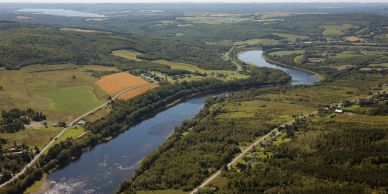The St. John River in Frenchville, Long Lake and other Fish River Lakes in the distance.