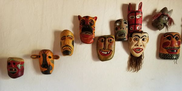Mask collection in Casa Galeano Interpretative Center in Gracias, Honduras