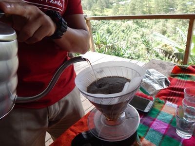 pour over coffee tasting in a farm