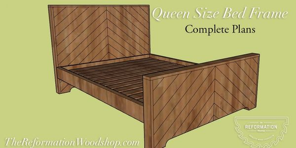 woodworking plans, chevron bed, queen size bed frame, do it yourself, bed frame plans, how to
