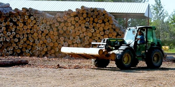 Hauling log materials with lift