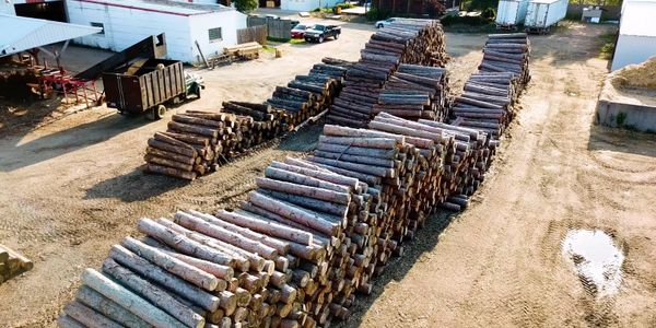 Stevens Point Log Manufacturing raw log product at mill