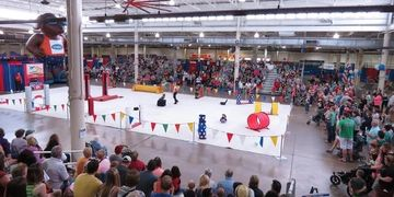 Dog performance arena, agility, tricks, dance dogs, high jumping, Frisbee dogs, canine entertainment