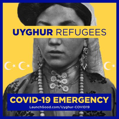uyghur refugee fund advertisement with kashgar uyghur girl background