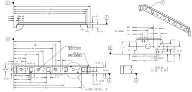 A manufacturing drawing for a custom steel part.
