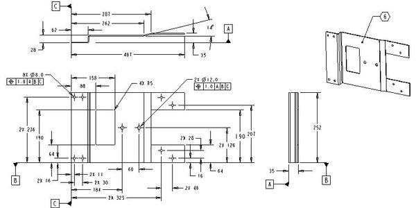 Mechanical drawing of steel part