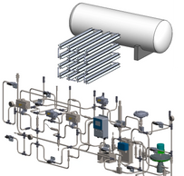 Example of a high pressure gas or liquid (hydrogen, nitrogen, water, hydraulic fluids, air, etc.) system with storage tank, vaporizer, and process piping and controls.