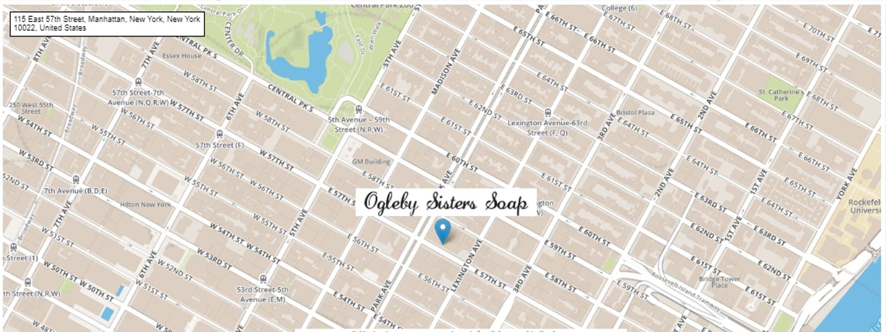 map of upper east side nyc with pinned location of 115 e 57th st. ny ny 10022 vartali salon carries full size bar soap of ogleby sisters soap