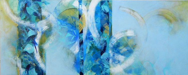 Cobalt Rhythms Acrylic on Canvas 26 in x 60 in