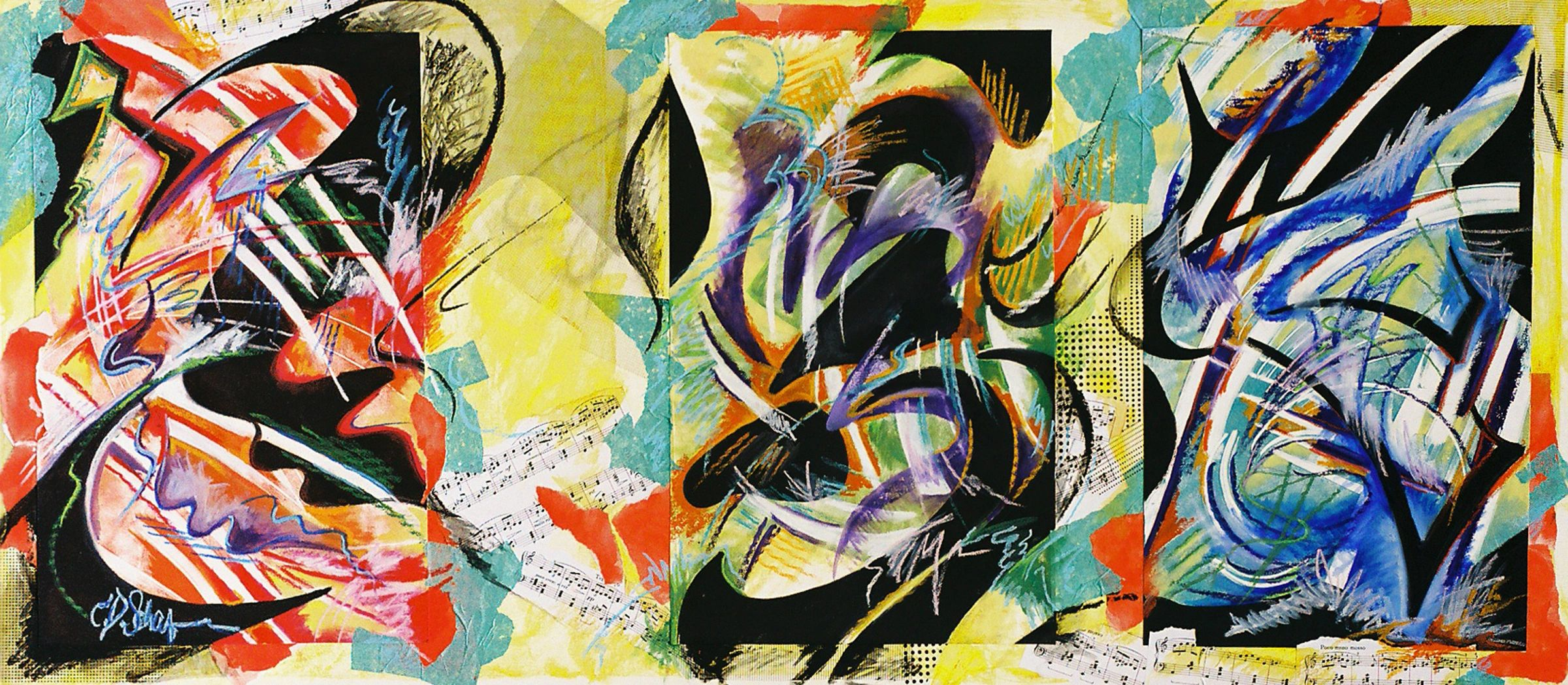 Changing Chords Mixed Media and Collage on Board 30 in x 60 in