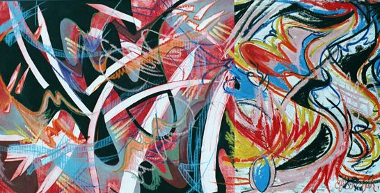 Jazz Fusion Mixed Media and Collage on Wood 24 in x 48 in