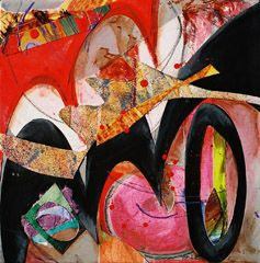 Jazz Fusion #23 Mixed Media and Collage on Canvas 12 in x 12 in  Available for Purchase $350  (Ships Flat; Stretched Canvas - Unframed)