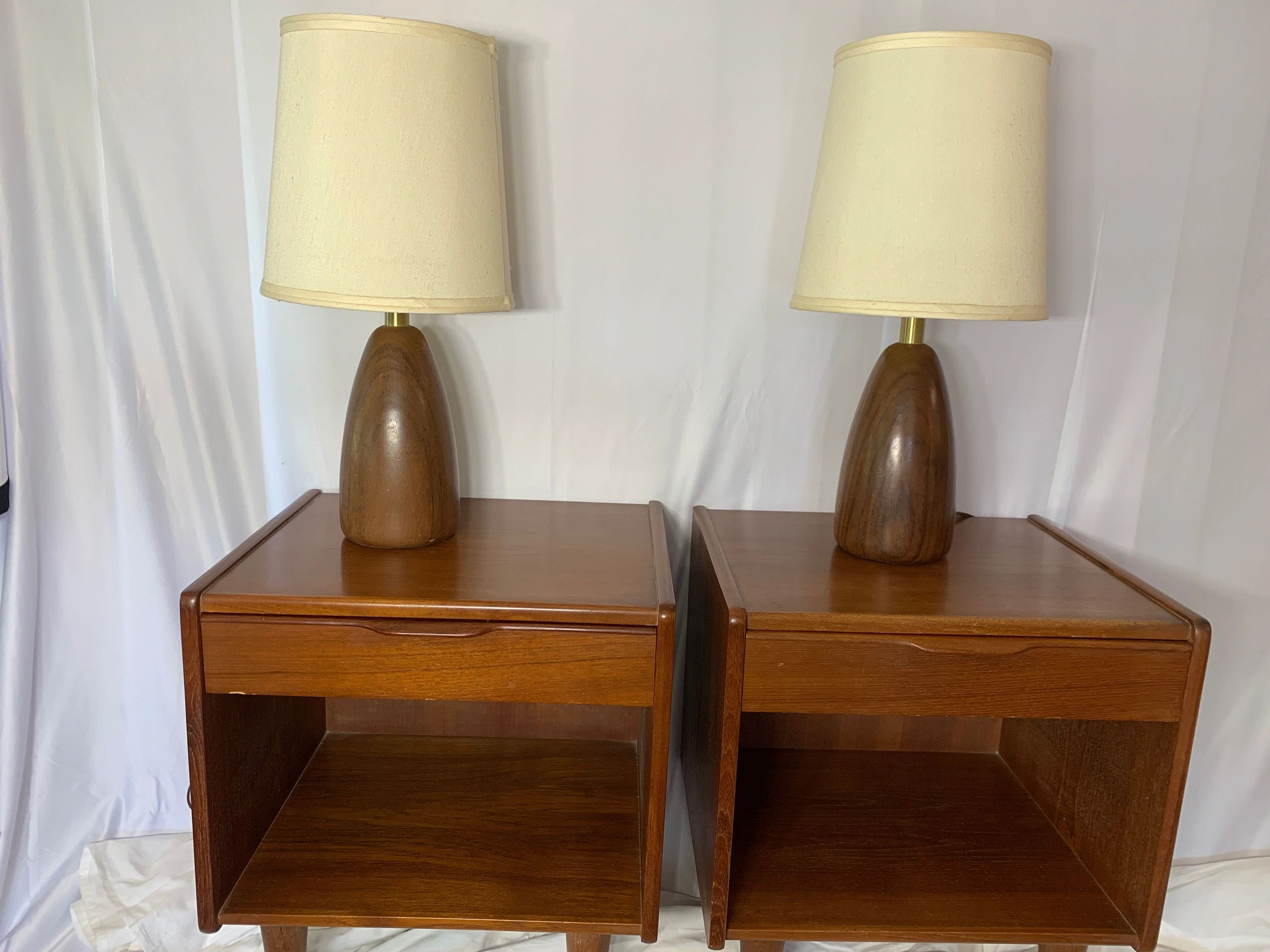 Mid-century modern Danish nightstands and lamps