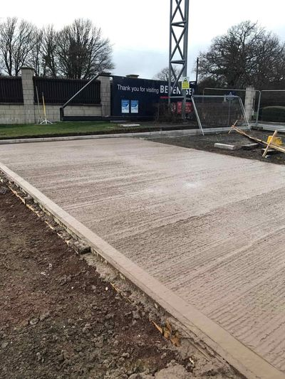 Concrete bay for lorry yard, by industrial and commercial construction company in Leicester