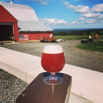 Cherry Valley Farmouse at Heritage Hill Brewhouse in Pompey, NY overlooking Syracuse, NY