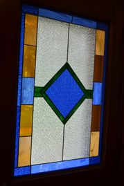 Stain glass at The Conner House BnB, 315 Main, Prairie du Rocher, IL 62277  618 284-8752