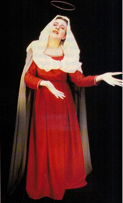 Louise Fox as the Virgin Mary in Kickhouse Theatre's production of St Rose for Sydney Festival