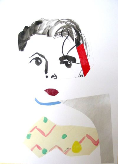 Self Portrait - pen & ink and collage