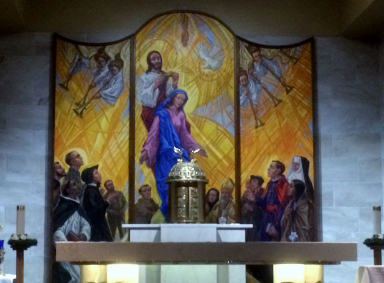 Photo of the altar in Our Lady's Chapel at the Malvern Retreat House www.malvernretreat.com