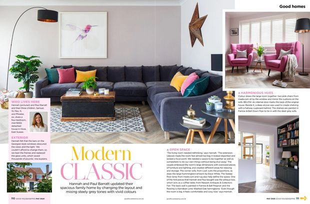 Good Housekeeping magazine, May 2020, pop of colour, velvet sofa, pink chairs, navy kitchen, yellow