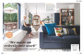 Ideal Home magazine, July 2019, self-build, bold interiors, reclaimed, recycle furniture, blue schem