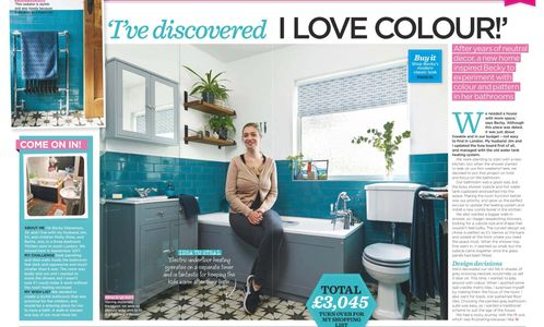 Style at Home, September 2019, bathroom makeover, pattern floor wall tiles, blue bathroom