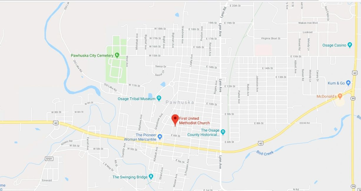Map of directions to Pawhuska FUMC