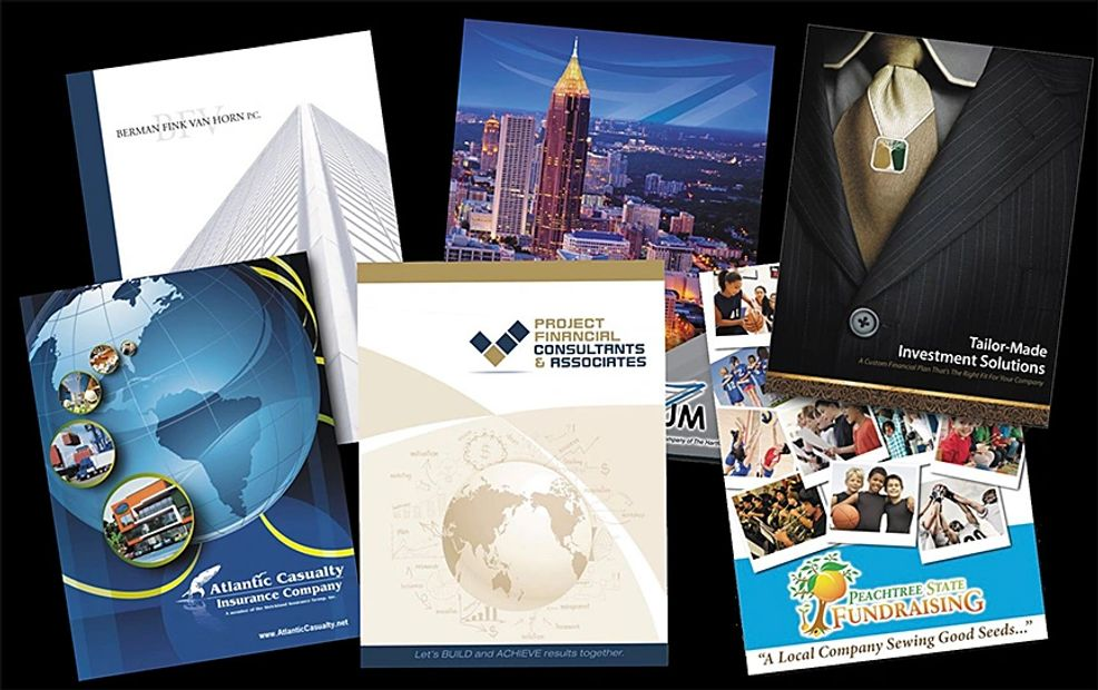 Presentation folders 9x12 pockets full color printing laminated folded diecut design printing
