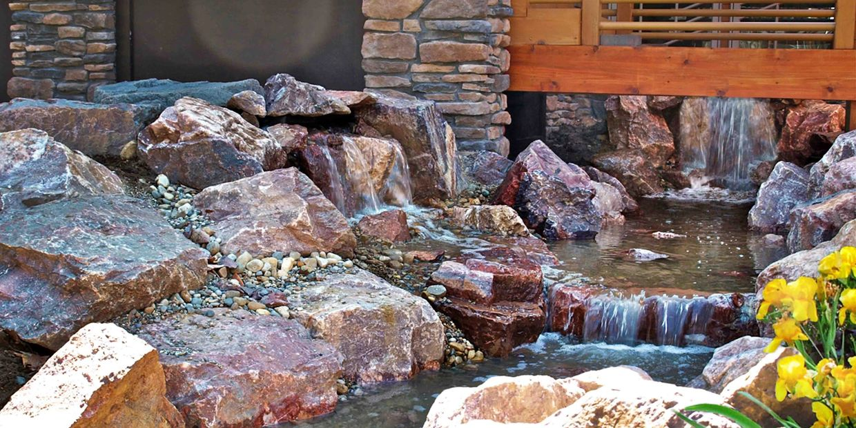 pond pondless waterfall contractor waterscape bridge water garden water feature installation pro cac