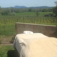 Outside massage with a view of Sonoma County vineyards and Mayacamas Mountains.